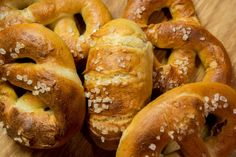 Soft pretzels are soft and salty and taste magnificent. In German they're called Laugenbrezeln (lye pretzel) because they're cooked in lye before baking.