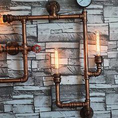 5 têtes nouvelle mode wroguht fer paroi de la conduite D'eau lampe plafonniers d'allée cru loft mur de fer lampe edison à incandescence lumière ampoule(China (Mainland))