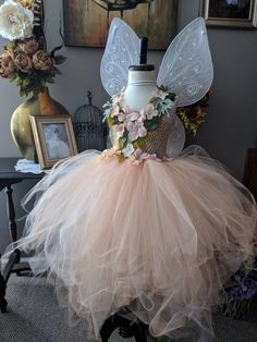 Peach Earth Fairy Costume Dress, Romantic Spring Flower Fairy Dress, Whimsical Fairy Costume, Fairy Outfits for Summer and Party - Modern Fairy Costume Kids, Fairy Princess Costume, Fairy Clothes, Fairy Birthday, Fairy Dress, Fairy Princesses, Halloween Disfraces, Satin Flowers, Festival Dress