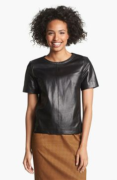 SHOW ME ANY BASIC SILHOUETTE IN LEATHER AND IT'S A MUST-HAVE. WHY WEAR A PLAIN TSHIRT WHEN YOU CAN WEAR IT IN LEATHER? THIS IS A STAPLE. // Halogen® Leather Front Top (Regular & Petite) available at #Nordstrom