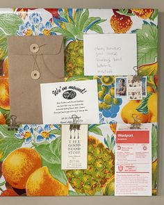 Oilcloth Pocket Board    Both easy to make and easy to clean, this clever board makes an ideal receptacle for outgoing mail and important notes. You can simply tack it onto an ordinary bulletin board, attach it to the fridge, or casually lay it out on the kitchen counter.