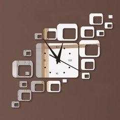 Squares Argent élégant Creative rectangles Miroir Horloge murale Design moderne amovible bricolage Acrylique 3D Sticker Décoration murale