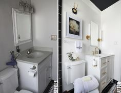 awesome bathroom makeover by The Hunted Interior. Love the black ceiling!