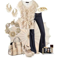 J Brand Love Story Bell Bottom Jeans + Somaruta Petal Blouse + Michael Kors Gia Python Satchel + Belted Platform Pumps + Reiss Xena Stackable Rings
