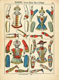 """EKDuncan - My Fanciful Muse: Vintage """"Pantin"""" Jumping-Jack Paper Dolls Free printable for a diy paper craft, idea, card, decoration, tags, labels, mixed media art, holiday, gift, découpage."""