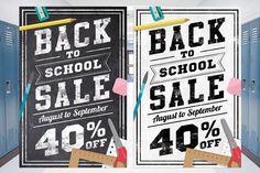 Back to School Sale Chalk Flyer. Photoshop Textures