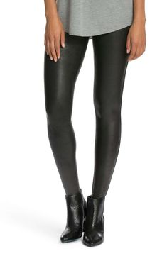 A slick finish adds extra edge to stretchy faux-leather leggings flattered by a subtle control top. Style Name: Spanx Faux Leather Leggings. Style Number: Available in stores. Leggings Mode, Leggings Fashion, Leggings Style, Cheap Leggings, Legging Outfits, Spanx Faux Leather Leggings, Black Leggings, Tribal Leggings, Camo Leggings