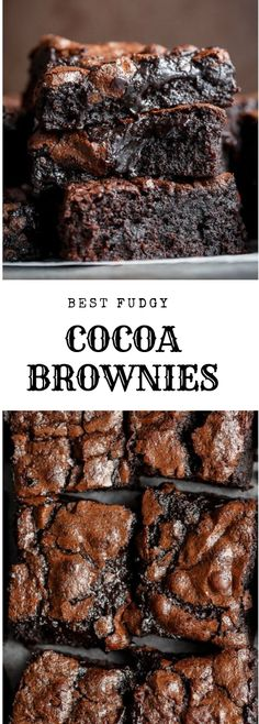 The Best, Fudgy ONE BOWL Cocoa Brownies! A special addition gives these brownies.-The Best, Fudgy ONE BOWL Cocoa Brownies! A special addition gives these brownies… The Best, Fudgy ONE BOWL Cocoa Brownies! A special… - Kakao Brownies, Cocoa Brownies, Fudgy Brownies, Brownies Without Cocoa Powder, Brownies Without Butter, Homemade Brownies, One Bowl Brownies, Brownie Recipe Without Baking Powder, Brownies Coconut Oil