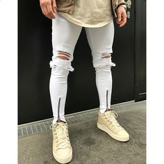 HIP-HOP Män Jeans Stretch Destroyed Ripped Folds Design Mode Ankel  Dragkedja Mager Biker Jeans För Män Jogger Byxor Plus Storlek 440a3b9424c84