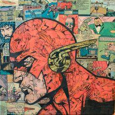 L'artista statunitense Mike Alcantara utilizza ritagli di vecchi fumetti