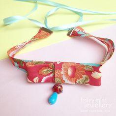 Bow tie Choker Retro Floral Pattern Vintage by fairymistjewellery