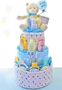It's A Boy This large 3 tiered diaper cake  makes a great presentation for a baby shower.