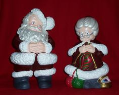 Mr and Mrs Santa Claus Ceramic Bisque (I made a few sets of these for gifts back in the day. Still have mine!)