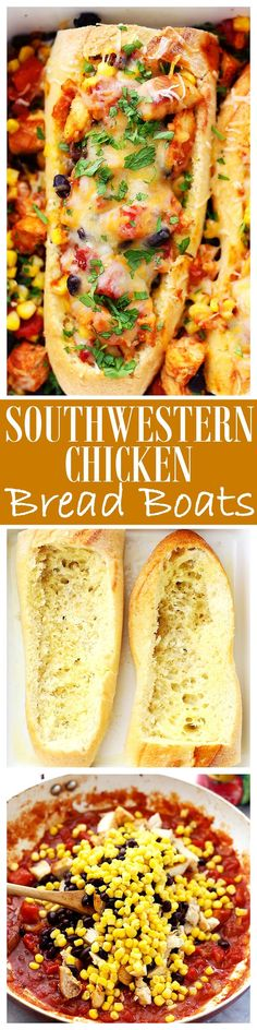 Southwestern Chicken Bread Boats - Stuffed french bread with a hearty, warm and delicious chicken-mixture including tomatoes, black beans, and corn. AD @huntschef  HuntsAtHome