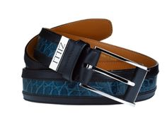 Zilli patent crocodile and boxcalf belt 1070ukp.