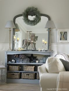 Beautiful - grey swept vintage mirror and dresser with Christmas frosty pine wreath...