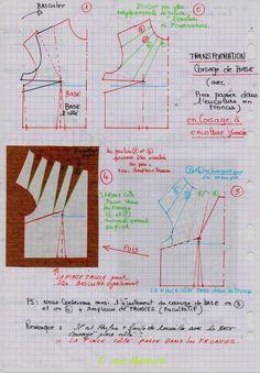 Transformation du corsage de base avec pince passée dans l'encolure en fronces = corsage à encolure froncée !