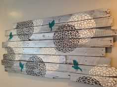 """CUSTOM ORDER Large Distressed Flower and Bird Wall Art Hanging 42"""" x 27"""" made from Pallet Wood Reclaimed"""
