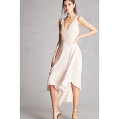 Forever21 Satin High-Low Wrap Dress ($48) ❤ liked on Polyvore featuring dresses, blush, hi low dress, white sleeveless dress, white hi low dress, satin dress and flared dresses