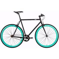 6KU Beach Bum   Turquoise/Black Steel Frame Complete Fixed Gear Bike
