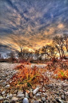 Winter Sunset on the Boise River, Boise, Idaho