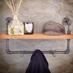 Reclaimed Wood Shelf With Towel Rack, Pipe Finish: Steel (as Shown) - industrial - towel bars and hooks - by Industrial Lightworks
