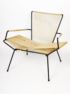 Allan Gould: Enameled metal & cord lounge chair, ca. 1950.
