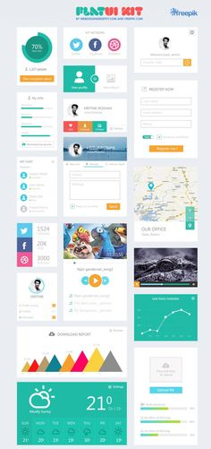 Web Design Freebies — Free Flat UI Kit 4