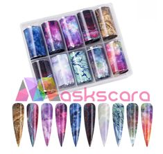 Galaxy Nebula Marble Themed Transfer Foil Case Each foil design is approximately 1 meter in length. For optimal results - use in conjunction with Maskscara's Gel-iT Foil Gel! Transfer Foil, Nail Art Designs, Nails, Marble, Finger Nails, Ongles, Granite, Marbles, Nail Designs