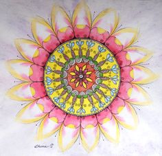 Pink & Yellow Mandala Flowers Drawing, Watercolor colored pencils Black ink illustration https://www.etsy.com/listing/197376373/pink-yellow-mandala-flowers-drawing?ref=shop_home_active_20