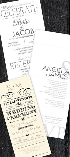 Bold type has a distinctive feel all its own and it creates a special focus for your wedding invitation. Whether you're looking for a poster-style invite, a modern invite, a handbill look or a typography only style, Invitations by Dawn has it!  ||  @dawninvites