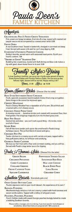 Paula Deen's Family Kitchen dinner menu