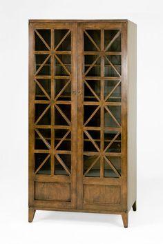 BAUSMAN & CO. / 2357 COLLECTORS CABINET WITH WOOD LATTICE DOORS / PLAIN GLASS BEHIND WOOD LATTICE