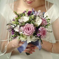 Wedding Lavender Rose and Freesia Bouquet