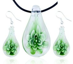 Pugster Christmas Gifts Green Flower Clear Drop Pendant And Earring Murano Glass Jewelry Set Pugster. $23.75. Perfect for Women, girls. Excellent for all ages and any occasion. Earrings- pendant sets. Gorgeous for gifts. Made in China. Save 20% Off!