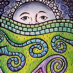 Mosaic Moonscape, Artwork by Sandra Lett, Art - Sun, Moon, Stars