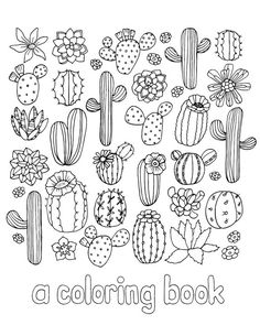 Items similar to Cactus and Succulent Coloring Book on Etsy Doodle Drawings, Cute Drawings, Doodle Art, Cactus Drawing, Cactus Art, Bullet Journal Ideas Pages, Bullet Journal Inspiration, Succulent Tattoo, Cute Doodles