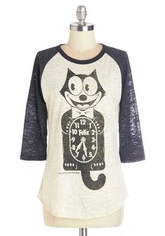 Kitty Chronology Tee. Anytime is a great time to sport this fun ringer tees Felix the Cat screenprint! #white #modcloth