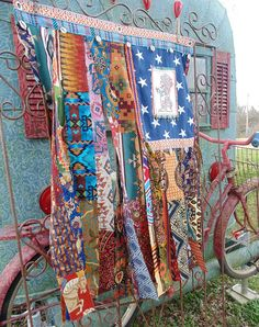 Boho American Flag Ethnic tribal mix wall tapestry embroidered
