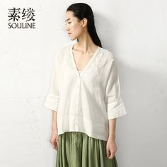 Souline Brand 2014 New Spring Embroidery Three Quarter Sleeve V-Collar Pure Color Button Linen Shirt SL432319