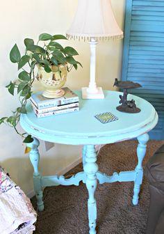 Aqua Painted Side Table - Mom 4 Real