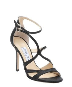 Jimmy Choo black spotted leather 'Furrow' strappy stiletto sandals | BLUEFLY