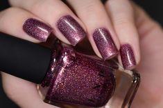 No Promises - Dark Amaranth Pink Holographic Nail Polish - Beauty - Nails - Dark Pink Nails, Burgundy Nails, Red Nails, Purple Nail, Swag Nails, Nail Art Designs Videos, Nail Designs, Pink Holographic Nails, Galaxy Nails