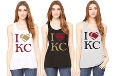 Support your Kansas City Chiefs with this adorable flowy racerback tank in your choice of colors! Glitter I love KC football design for some extra bling. Thewordzone.etsy.com #kcchiefs #kansascitychiefs #ilovekc #chiefsfans #chiefsshirts