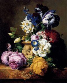 Charles-Joseph Node (1811-1886) - Roses, Tulips, Morning Glory, Delphinium And Primrose Peerless In A Terra Cotta Vase On A Marble Ledge