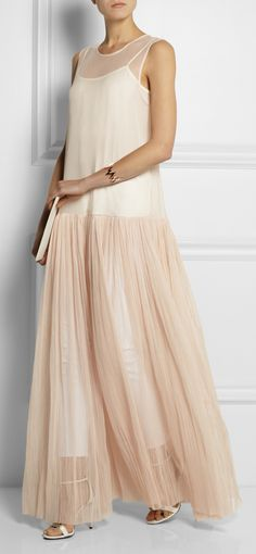 Ruched cotton-tulle maxi dress