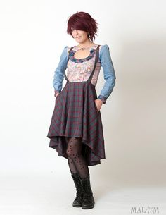 Hi lo skirt with suspenders  grey and red plaid  Flared by Malam, €137.00  Kayla likes the skirt but in a solid color