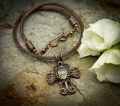 Celtic Cross - Copper Wirework Cross With Prehnite On A Viking Knit Chain - Copper wire and Prehnite Wire Wrapped Necklace, Wire Wrapped Rings, Rope Necklace, Wire Earrings, Wire Wrapped Pendant, Wire Jewelry, Pendant Jewelry, Handmade Jewelry, Necklaces