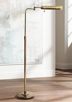 House of Troy Swingarm Pharmacy Antique Brass Floor Lamp