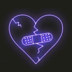 image description: purple neon sign depicting a broken heart repaired with a bandaid Neon Wallpaper, Iphone Wallpaper, Neon Licht, Purple Aesthetic, Aesthetic Dark, Feeling Sad, Neon Lighting, Vaporwave, Aesthetic Pictures
